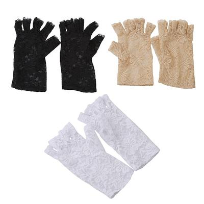 Womens Black Fingerless Lace Gloves Ladies Wedding Prom Fancy Dress Accessory