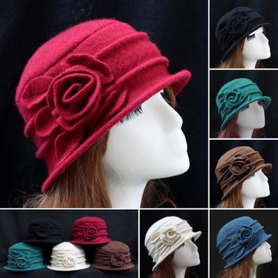 Tophat Middle-Aged Womens Felt Hat Decoration Flowers Vintage Hat Mother Dome Bucket hat Church Vintage Hat Wine