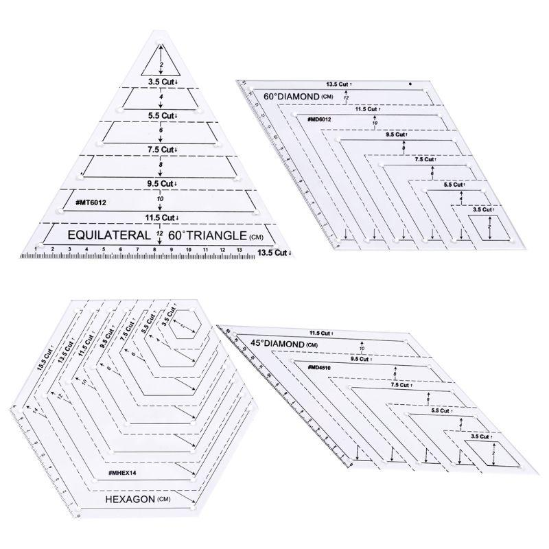 Transparent Quilting Sewing Patchwork Ruler Cutting DIY Tailor Tools Craft N6L2