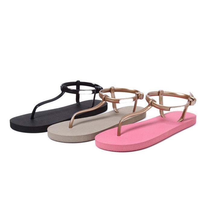 夏季罗马纯色沙滩凉拖鞋人字拖女防滑平跟夹脚拖鞋凉拖