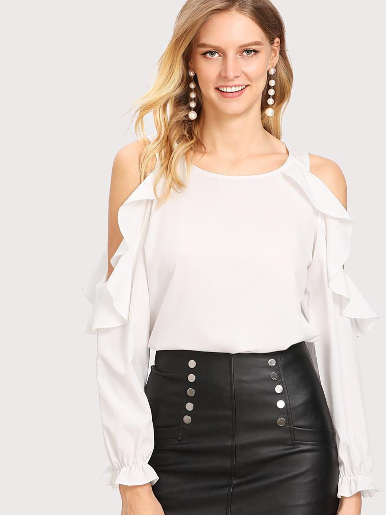 4885646e3 SHEIN abierto hombro volante blusa recorte - comprar a precios bajos ...