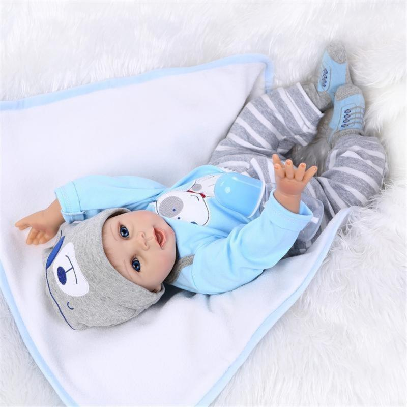 55cm Silikon Lebensecht Junge Reborn Baby Puppe Babypuppe mit Kleider Nippel