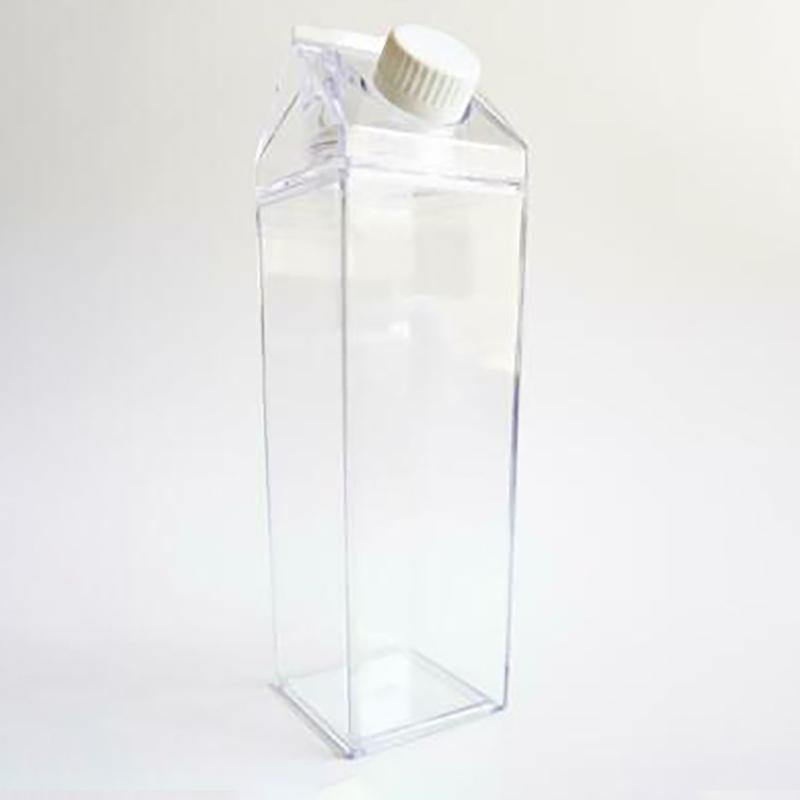 FREE FAST SHIPPING 2x 500ML Plastic Clear Transparent Milk Carton Water Bottle