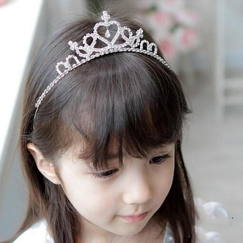 Kids Gift Girls Pearl Crystal Hairband Bow Knot Tiara Rhinestone Headband