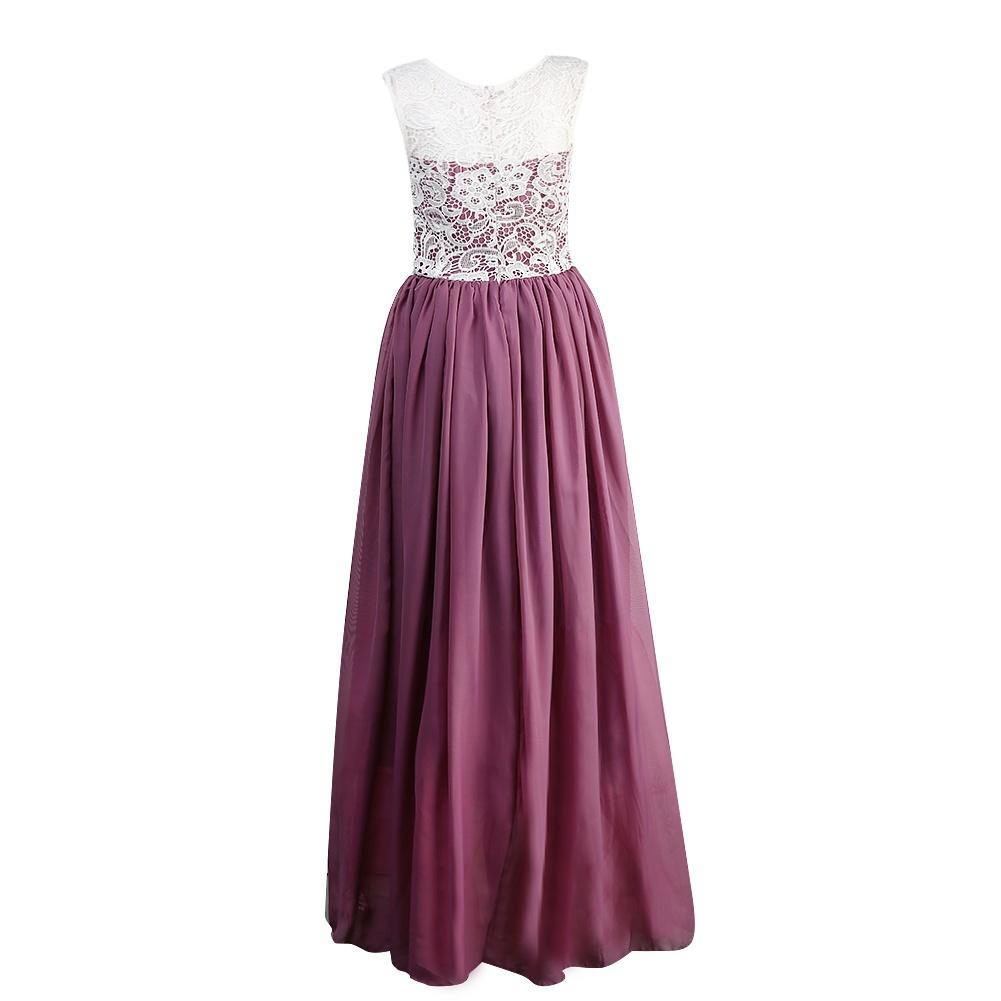Moda nuevo largo de Gasa y encaje boda fiesta vestidos de noche ...