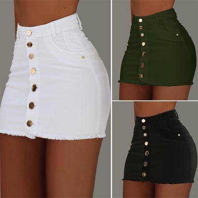 Women/'s Button Down Denim Swing Skirt Students Stretch High Waist Beach Skirt UK