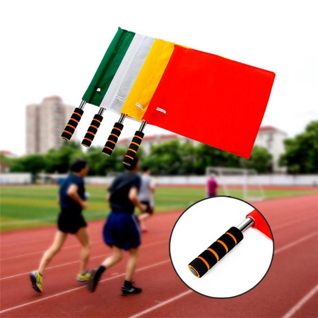 2pcs Training Football Rugby Hockey Games Referee Flags Premier Linesman Flags