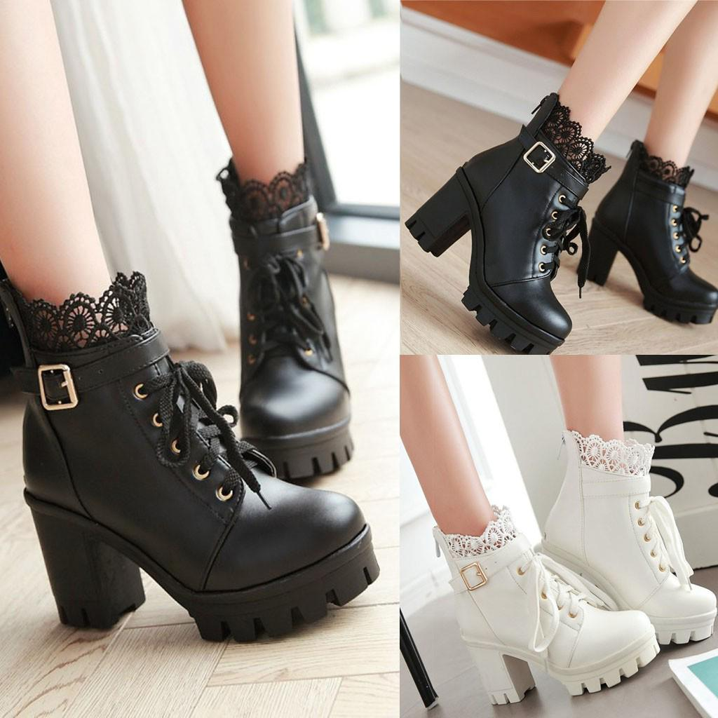 Womens Goth Buckle Lace Up High Heels Pumps Platform Ankle Boots Shoes US4-13.5