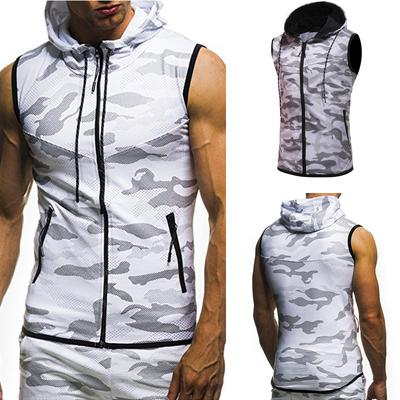 Mens Summer Casual Camouflage Print Hooded Sleeveless T-Shirt Top Vest Blouse