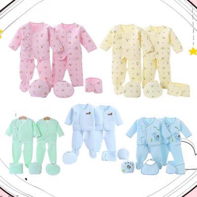 Underwear Set Pants+Top Infant Baby Hat Bib+Bellyband Animal pattern Boys Girls