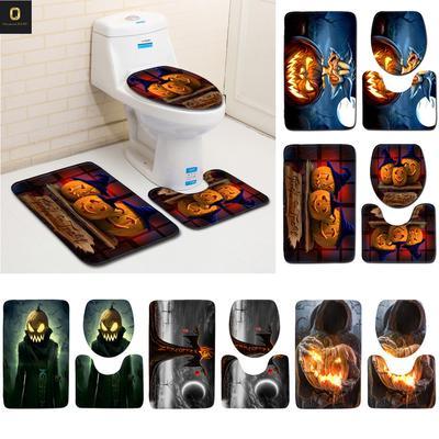 Excellent Halloween Pumpkin Lantern Toilet Seat Cover And Rug Bathroom Lamtechconsult Wood Chair Design Ideas Lamtechconsultcom