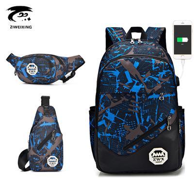 8cf3817021 ZWX Composite Set External USB Charging Men Women Backpack Chest Waist Bag