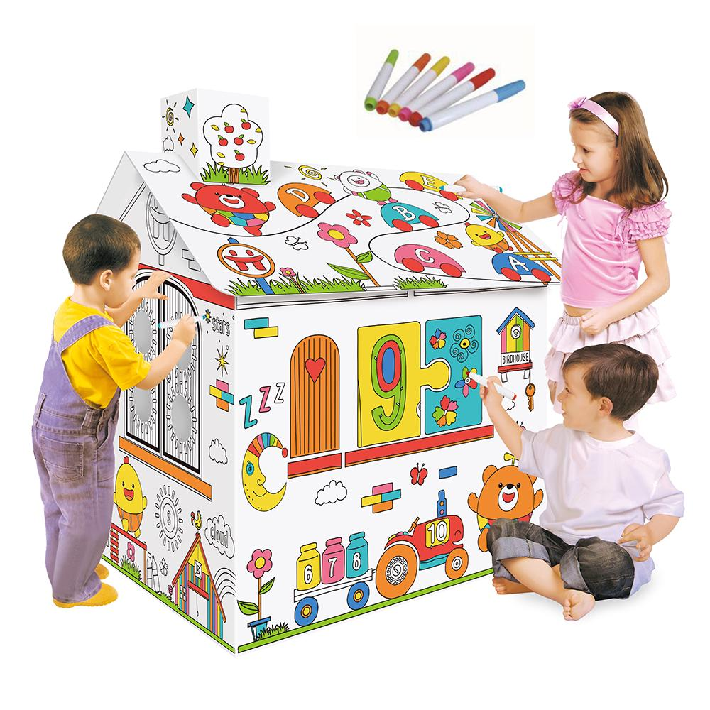 Diy Large Cardboard Coloring Creative Crafts Play House Project