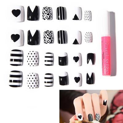 24pcs Cool Fake Fingernail tips Short False Nail Acrylic Full Cover Nail Art