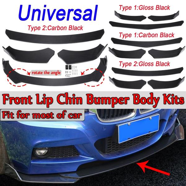 1 Set Light Weight ABS Glossy Black Universal Front Lower Lip Chin Bumper Body Kits Anti-scratch Performance//Custom Fitment Durable Compatible with Sports Type Car Automotive