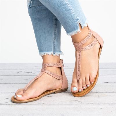 8e54f260d Gladiator Women Diamond Zipper Low Flat Flip Flops Beach Sandals ...