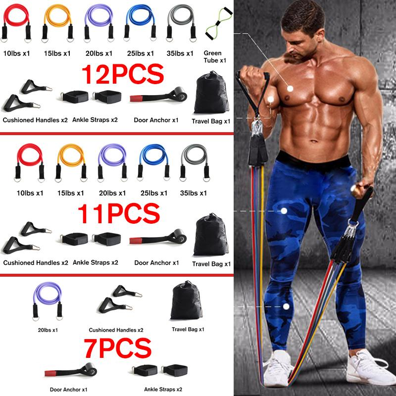 12x Resistance Bands Set Pull Rope Gym Sports Fitness Workout Crossfit Yoga Tube