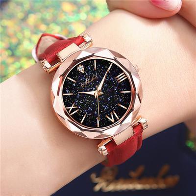 Ladies Watch Personality Romantic Luminous Starry Sky Wristwatch Leather Rhinestone Casual Watch