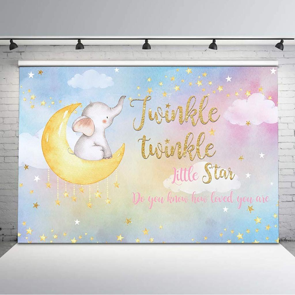 New Twinkle Star Baby Shower Backdrop 7x5ft Love You to The Moon and Back Gender Reveal Photo Booth Backdrops Twinkle Twinkle Little Star Newborn Baby Photography Background