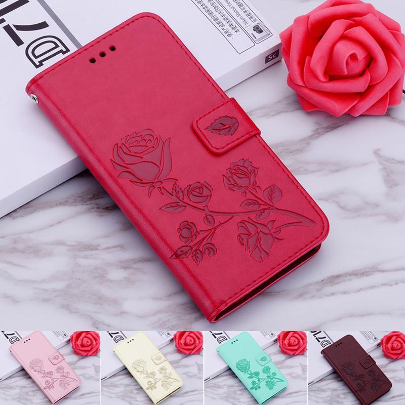 Роскошная роза Тиснением Кожа Дело Flip Обложка Обложка Книга Стенд для IPhone Huawei Честь Samsung Галактика Xiaomi Redmi фото