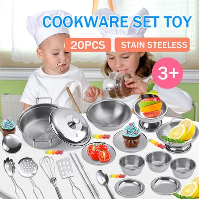 25pcs Set Kids Play House Kitchen Toys Cookware Stainless Steel Utensils Pot Buy At A Low Prices On Joom E Commerce Platform