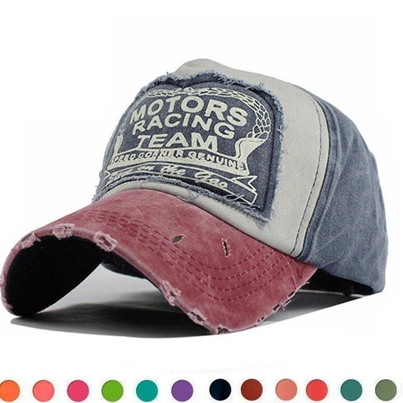 Denim Caps for Men Women Baseball Hat Cotton Snapback Vintage Motorcycles-Logo