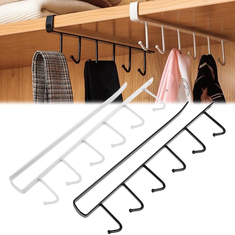 6 Hooks Metal Under Shelf Mug Cup, Kitchen Cabinet Hanging Rack