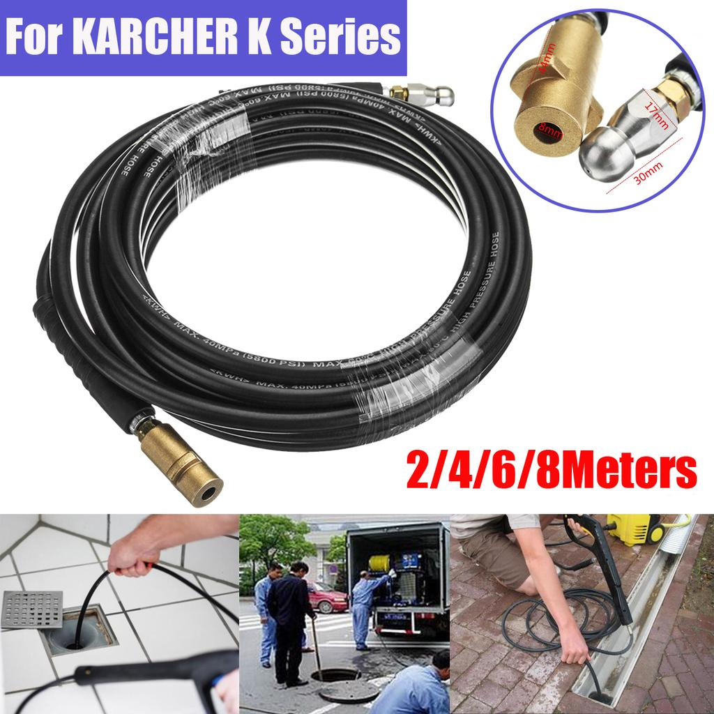 Manguera de Limpieza de drenaje 8m con Boquilla de Rotativo-Karcher K3 Serie Lavadora a Presión