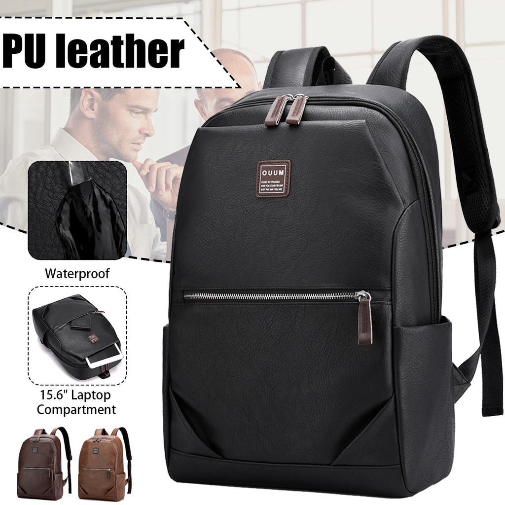 Men Backpacks Vintage Leather Male Korean Student Backpack Large Boy Business Laptop School Computer Bag Khaki