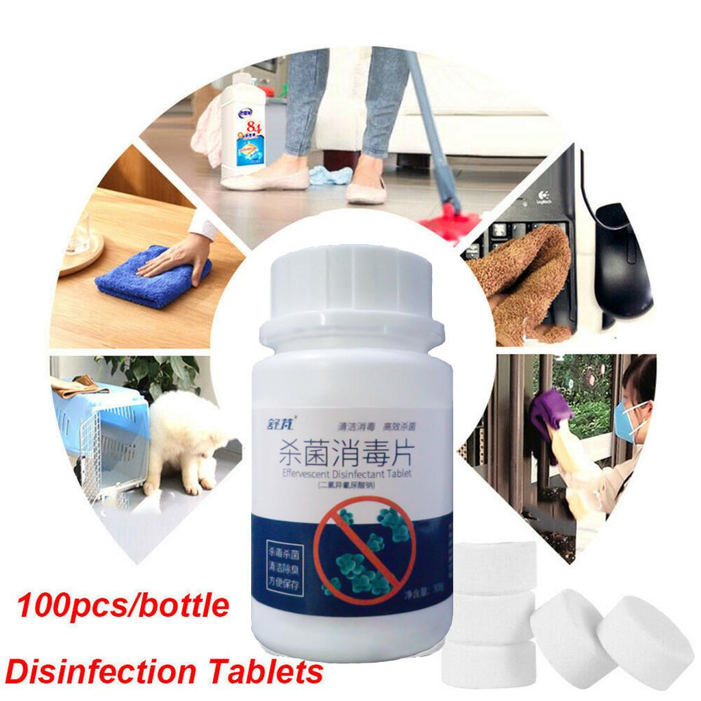 SNOWINSPRING 100Pcs//Bottle Disinfection Tablet Effervescent Tablets Laundry Floor Household Disinfection 2 Bottle
