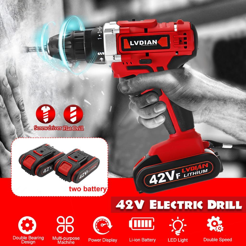 Light 21V Cordless Hammer Drill 3IN1+4000mAh Li-ion Battery 2 Speed 30Nm Torque