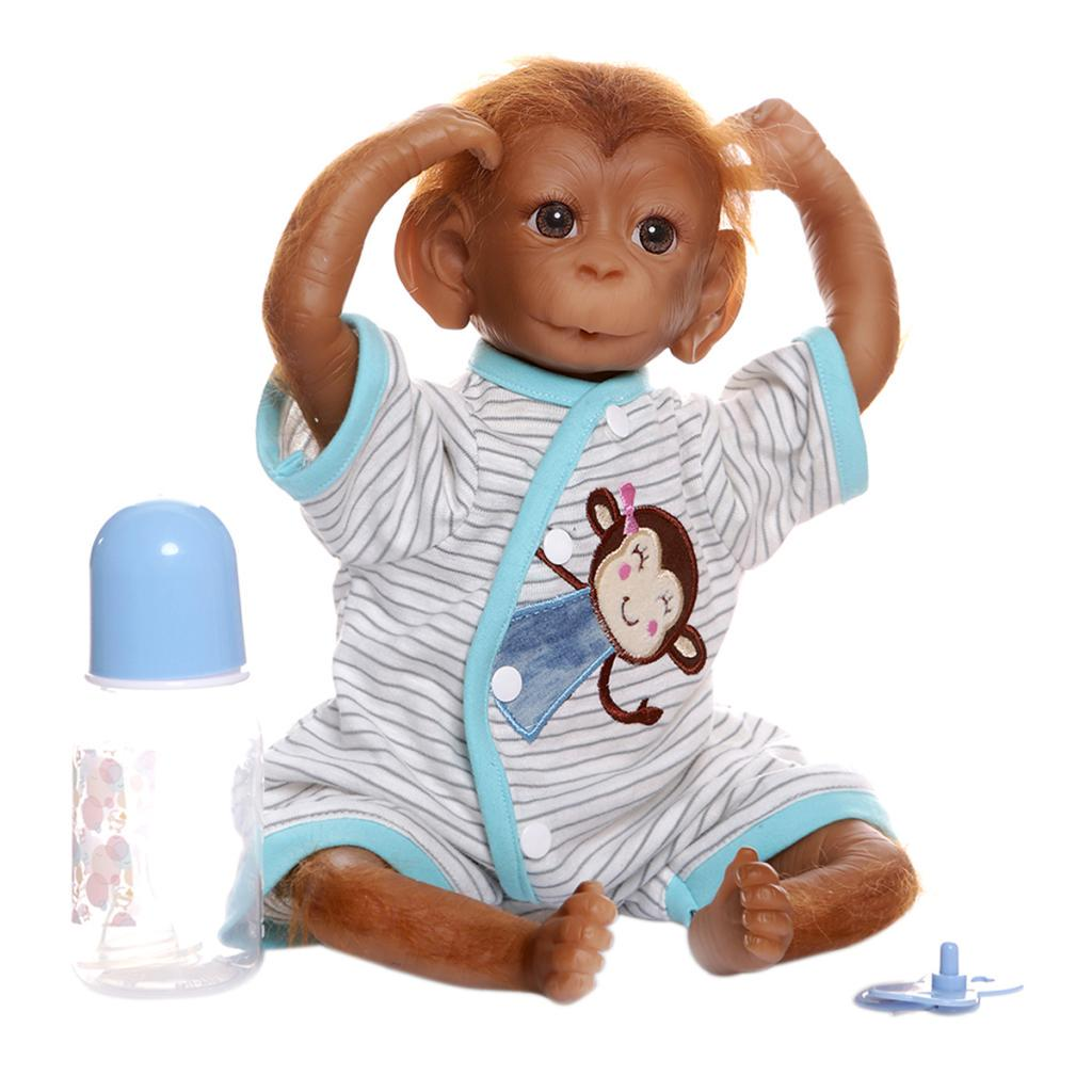 18in Baby Monkey Doll Realistic Reborn Baby Silicone Dolls w// Pacifier Toys