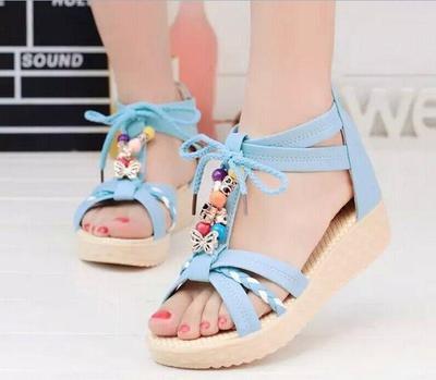 3f1a2aa7af1 Bohemia Stylish Womens Lace Up Ribbon Lady Platform Wedges Sandals Shoes