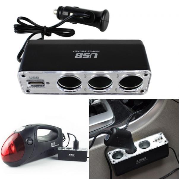 3路多插座汽车车载点烟器分配器USB插头适配器充电器