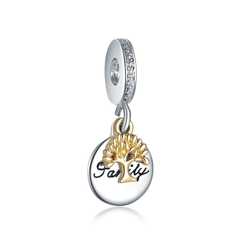 Authentic Coloful 925 Sterling Silver Intertwined Flower Zircon Charm Pendant