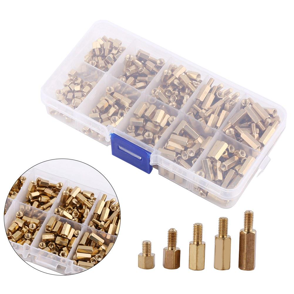 300Pcs//Box M3 Brass Standoff//Spacer And Brass Hex Stand-Off Pillars DIY  Kit Set