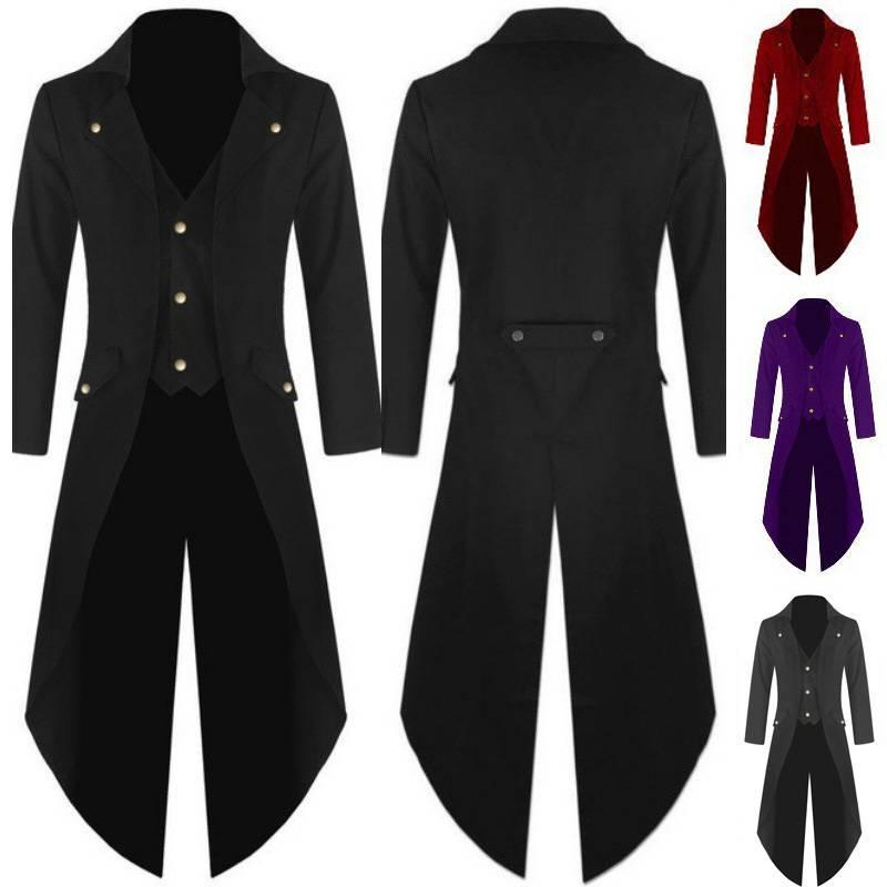 Mens Vintage Gothic Steampunk Jacket Victorian Tailcoat Evening Ringmaster Coat