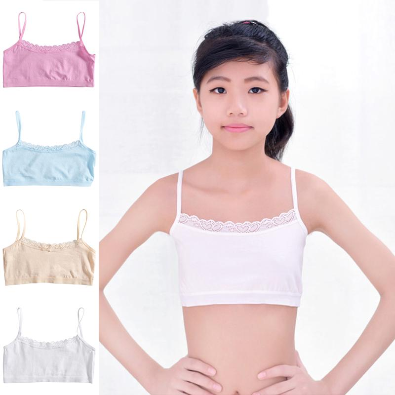 Lace Girls Underwear Hollow Underwear Teenager Training Bra Vest Breathable B/_LD