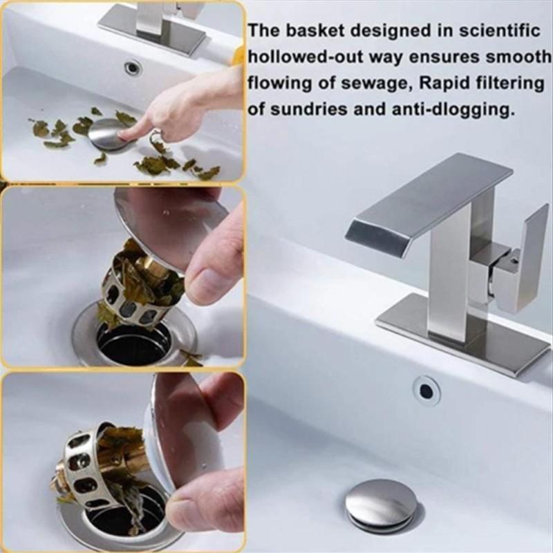 1 PC Universal Wash Basin Bounce Drain Filter,Pop Up Bathroom Sink Drain Plug