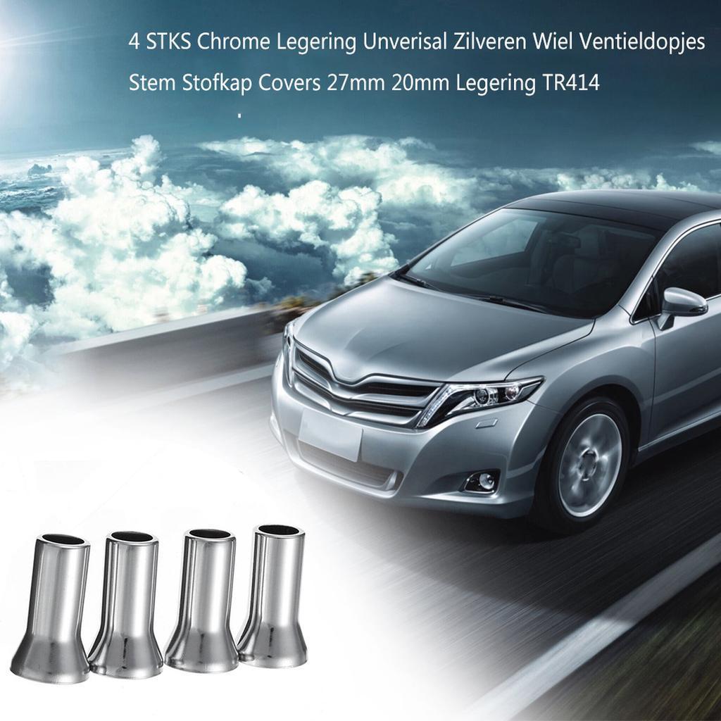 4 Universal Chrome Hex Wheel Tyre Valve Dust Caps /& Stem Covers 27mm