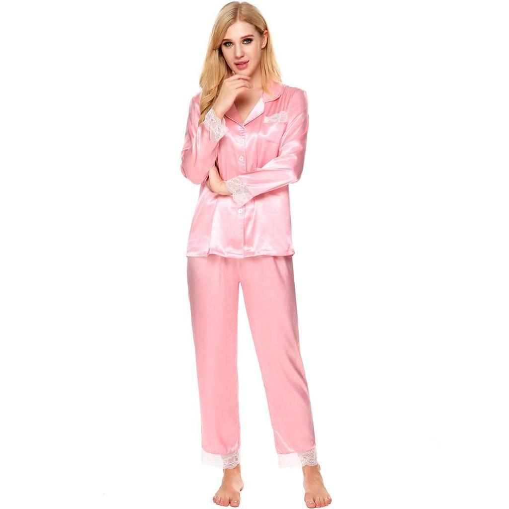 Larga mujer manga encaje Patchwork ropa de dormir delgado vuelta ...