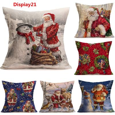 "18/"" Merry Christmas Polyester Pillow Case Sofa Waist Cushion Covers Home Decor"
