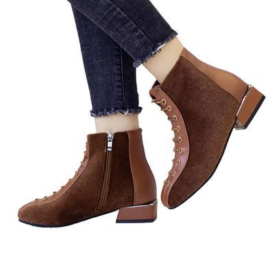 Cargadores del tobillo de las mujeres acuden tacón corto zapatos gruesos  cordones Casual botas ae98fc2ca18e