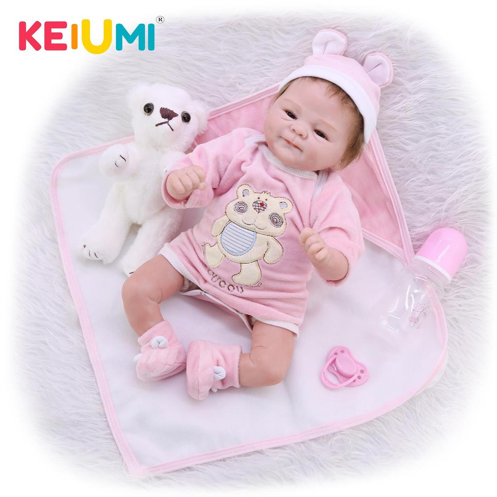 Buy Lifelike Rooted Mohair Reborn Baby Dolls Soft Silicone Real Touch Ethnic Doll Baby Toy Wear Blue Bear Romper Kid Birthday Gifts At Affordable Prices Price 41 Usd Free Shipping Real