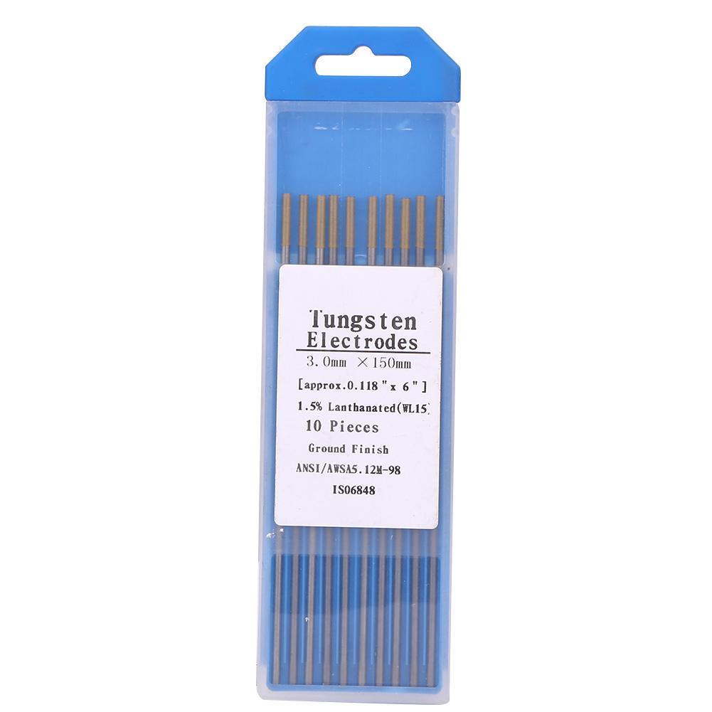 10 Pcs WL20 Tungsten Lanthanated Tip TIG Welding Electrode Rods Blue 2.4mm