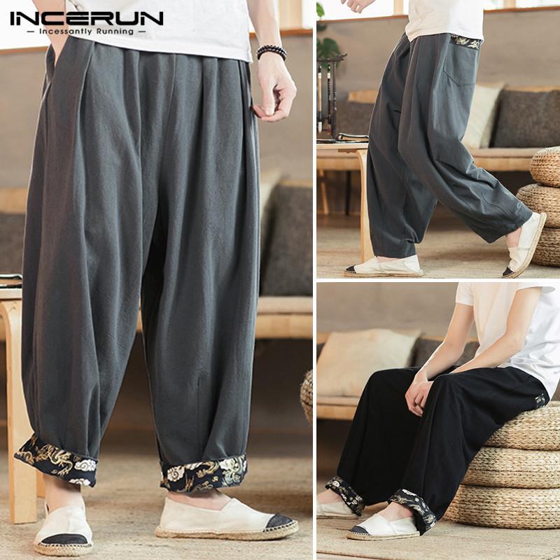 Mens summer crotch pants linen loose retro wide leg harem pants trousers size XL