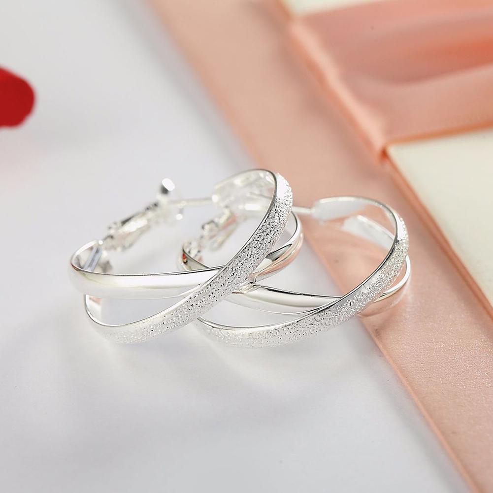 Argent 925 Fashion Twinkle Big Round Hoop Dangle Boucles d/'oreilles cadeau