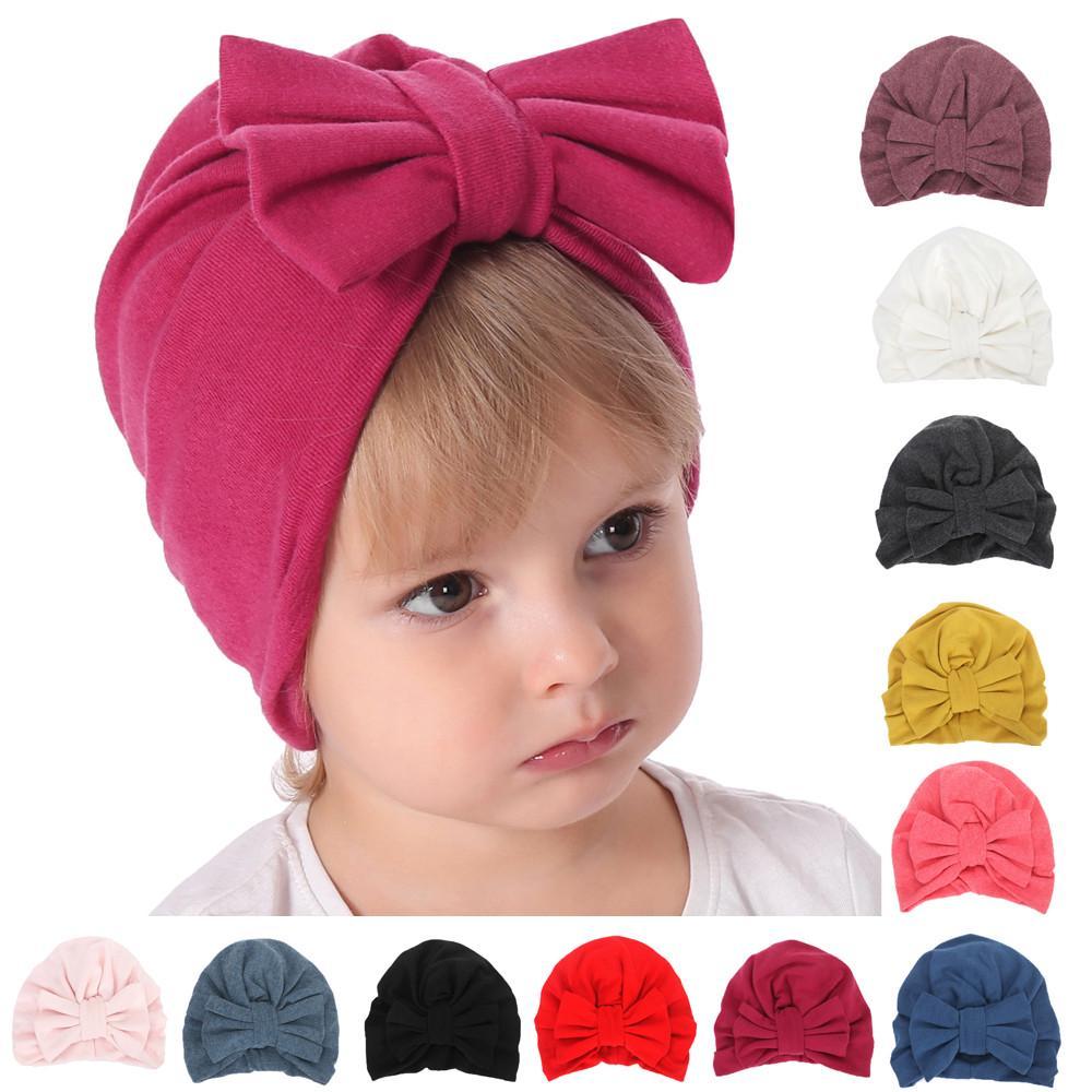 Newborn Kids Baby Girls Boys Bowknot Sleep Cap Headwear Hat Winter Warm Cap 2T