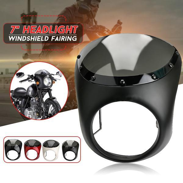 Color : Black MXBIN 7inch Motorrad Retro Cafe Racer Lenkerverkleidung Windschutzscheibe /& Montage for Harley Werkzeugzubeh/ör