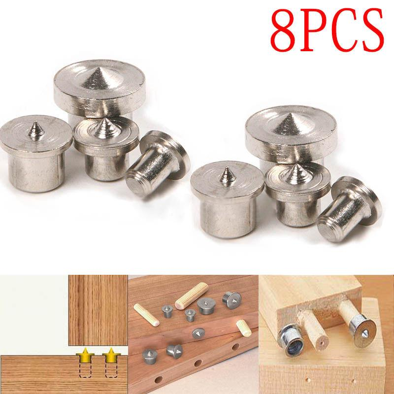 Idh 8pcs Dowel Pins Center Point Woodworking Craft Clamp Steel Tools 6/8/10/12mm